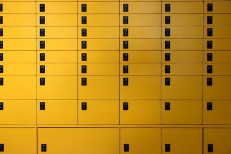 mailroom: yellow lockboxes