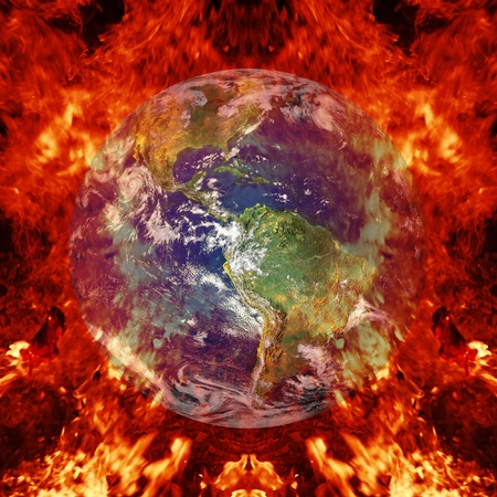 Close-up of the earth burning photo