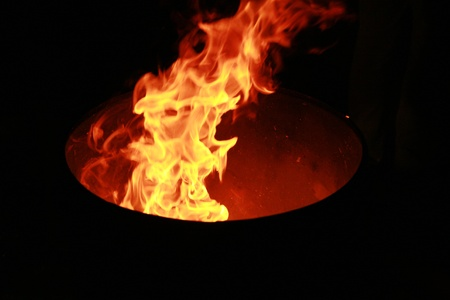 close-up of a big wooden fire photo