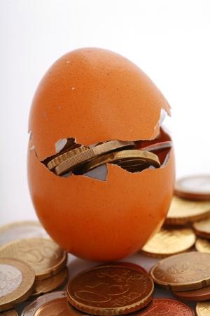 coins in an eggshell, metaphor for financial savings,fragile financials,........... photo