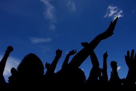 crowd with raised hands photo