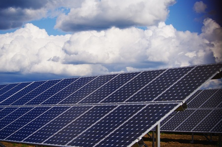 solarcell: solar collector energy plant outside against sky Stock Photo