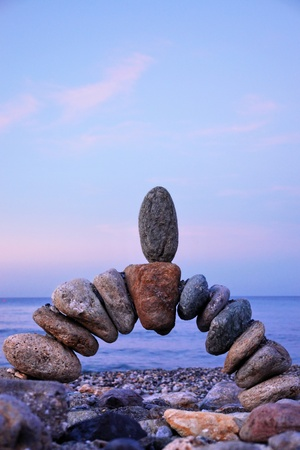 close-up of a handmade stonebridge against sky Stock Photo