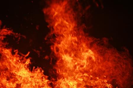 combust: close-up of a big wooden fire