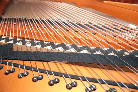 inside the piano  string, pins and hammers photo