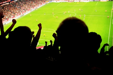 Silhouettes of fans celebrating a goal on football match photo