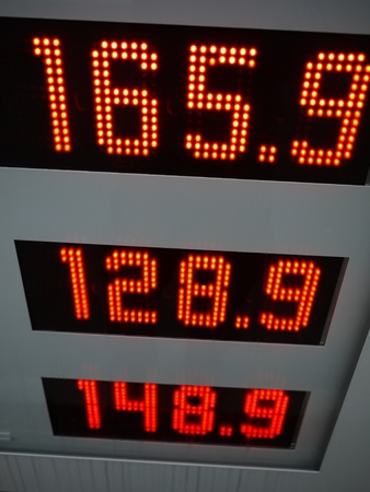 red price figures on a gasoline station photo