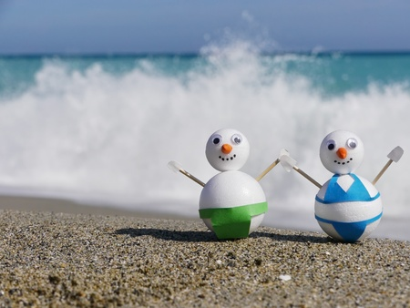 frosty the snowman: snowman beach vacation Stock Photo