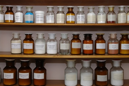 stockroom: chemicals on a laboratory table no trademark visible