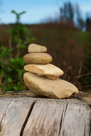 energy work: close-up of some stones in balance outdoors