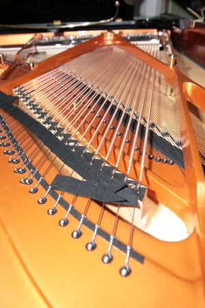classical mechanics: inside the piano  string, pins and hammers Stock Photo