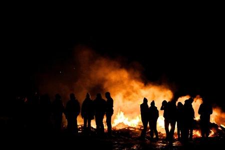 burns night: people bonfire Stock Photo