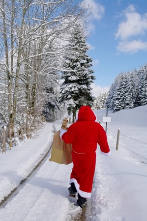 kringle: Santa Claus, Father Christmas in a beautiful winter landscape Stock Photo