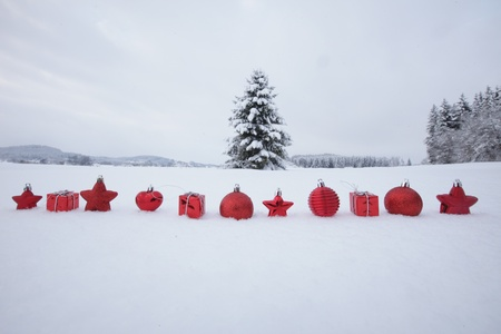 Christmas decoration outside in a snowy landscape 版權商用圖片