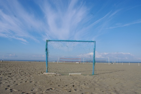 Goal at the beach at summer time photo