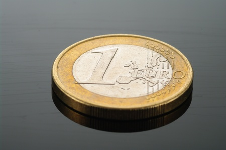 One Euro coin money isolated  European currency  photo