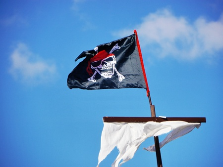Jolly Roger skull and crossbones black pirate flag photo