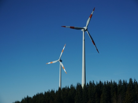 Wind power wind energy outside on a hill Stock Photo - 17551373