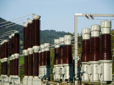 isolator high voltage: Electricity and power generation industry electric power transformation substation Stock Photo