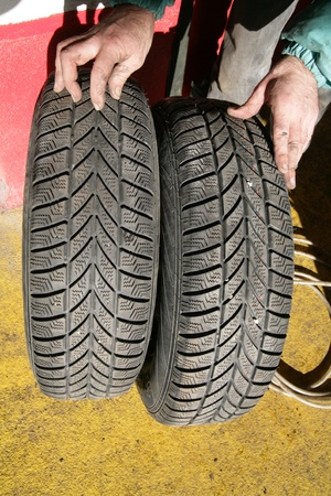change of tyres for coming cold winter Stock Photo - 17551427