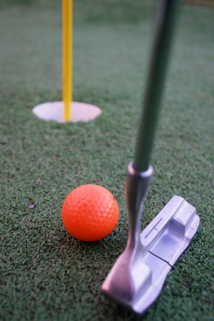 Close up of a pin and cup on a golf hole Stock Photo - 17552818