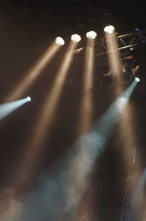 stage lights at an open air concert Stock Photo