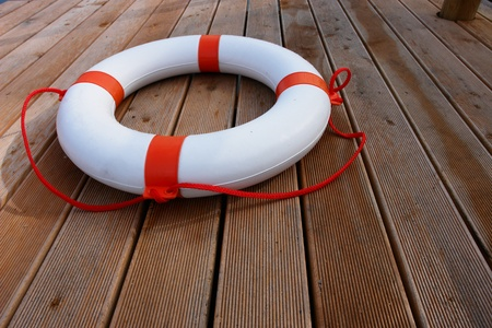 life saver: close-up of a lifebelt on a boat Stock Photo