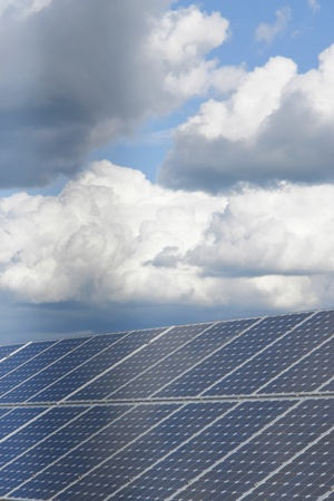 solarenergy: solar collector energy plant outside against sky Stock Photo