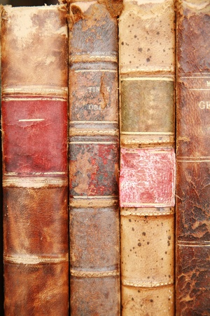 spines: very old historic ancient books on a shelf