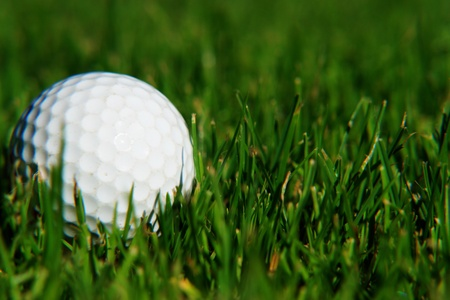 close-up of a white golfball on grass photo