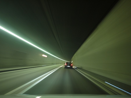tunnel car motion blur night traffic fast Stock Photo - 18253364