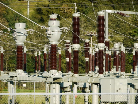 isolator switch: Electricity and power generation industry electric power transformation substation Stock Photo