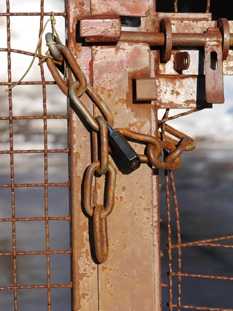 rusted lock with chain photo