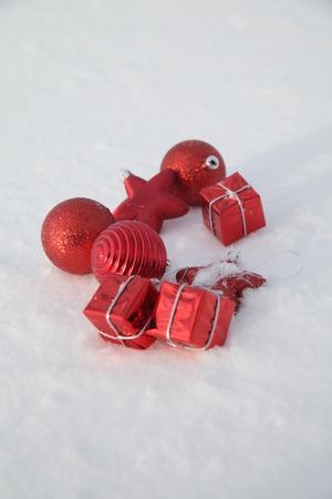 Christmas decoration outside in a snowy landscape photo