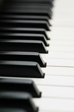keyboard player: close-up of a Piano-keyboard, very shallow DOF! Stock Photo