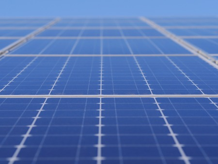 solar cell on on roof producing electricity photo