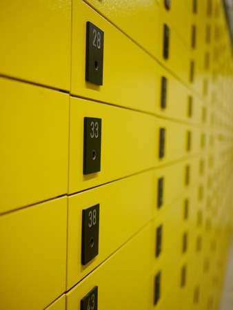 mailroom: yellow private mail boxes at a post office in Croatia Stock Photo