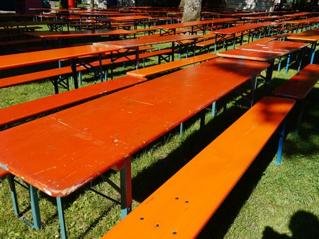 Beer tables and benches in a public park