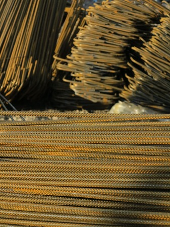 mild: twisted steel construction materials in a construction site