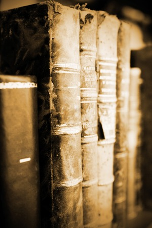 spines: old books at display on a market Stock Photo