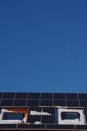 shifted: solar cell on on roof producing electricity