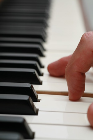 grand piano: close-up of a Piano-keyboard Stock Photo