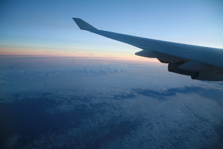 wingtips: wings of an airplane in the sky. Stock Photo