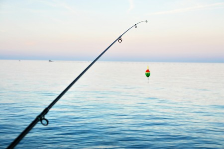 Fishing pole: Fishing pole waiting to be cast, with line and sinker