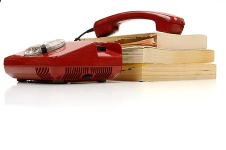 retro phone and phone book.