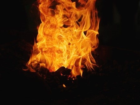 fire burning fire. Fire burning in the night. crest of flame on burning wood.blaze fire flame texture background photo