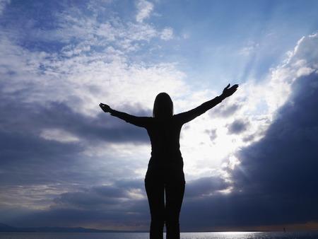 yoga silhouette sky welcome freedom photo