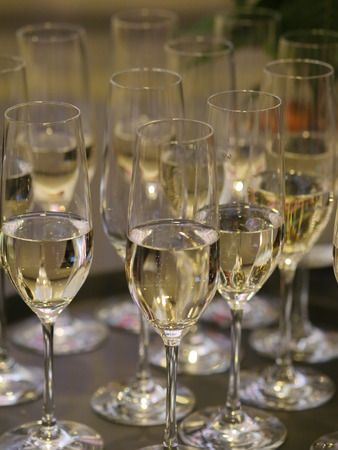 next to each other: Several champagne glasses next to each other Stock Photo