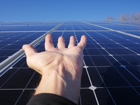 solarcell: solar cell on on roof producing electricity