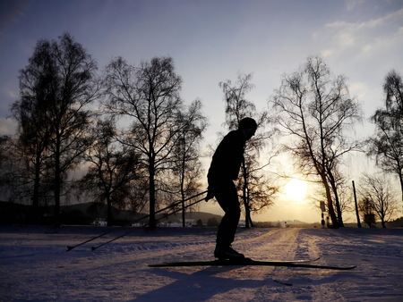 sillhouette: sillhouette at cross country skiing Stock Photo